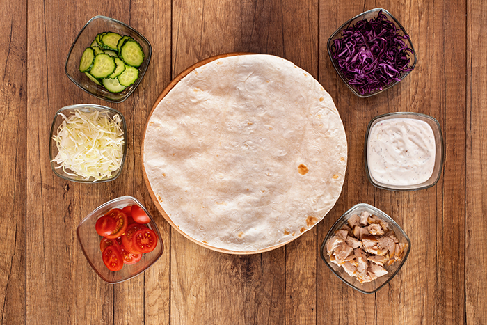 ingredientes de wrap de pollo